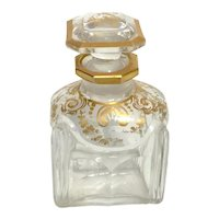 BACCARAT 18K Gilded French Cut Crystal Perfume Scent Bottle