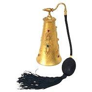 JEWELED SILVERCRAFT Filigree Guilt Gold Perfume Atomizer Bottle