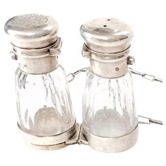 GEORGE BRACE. Binocular Opera Glasses Double Ended Vinaigrette/Perfume Bottle - Sterling Fittings