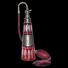 MOSER  - Amazon Worriers -  Deep Ruby Red Cut to Clear Crystal Perfume Atomizer
