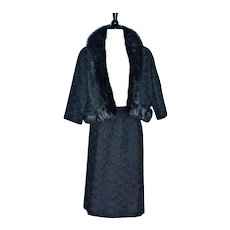 THORP FURS Black Ribbon - Mink Trim 2pc Suit