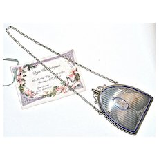 22 Karat Gold Edwardian Sapphire & Enamel Nécessitaire/Dance Purse/Compact with Dance Card