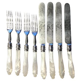 MOP FLATWARE - Carved Mother of Pearl &  intricately Engraved Set of 8 (4-Knives & 4-Forks)