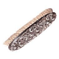 Ornate Flower Repose Sterling Clothes Brush with Boar Bristles