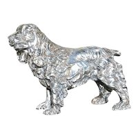 SPANIEL SCULPTURE -Large  Heavy Sterling Silver Dog