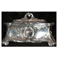 Huge Ca. 1884 Jugendstil Art Nouveau Sterling Silver Casket - Jewelry Box/Chest