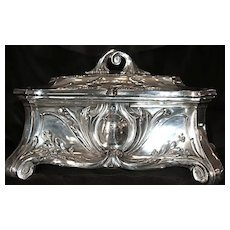 Huge Ca. 1884 Jugendstil Art Nouveau Sterling Silver Casket - Jewelry Box/Chest