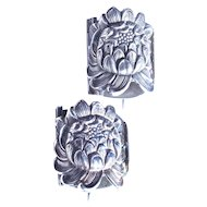 UNGER BROS. Boutonnière Corsage Posy Holders - RARE Pair - Sterling Silver - Signed