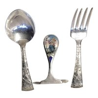LITTLE BOY BLUE - Enamel Food Pusher by RLB with Spoon & Fork Set by Alvin - Sterling Silver Child's Flatware