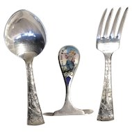 LITTLE BOY BLUE - Enamel Food Pusher by RLB with Spoon & Fork Set by Alvin - Sterling Silver Child's Flatware