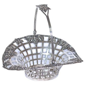 STERLING BASKET = Reticulated with Draping Grapes - Wright, Kay & Co.. of Detroit