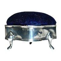 LEVI & SALAMAN 1913 - Edwardian Sterling Silver Ring/Jewelry Box-Velvet Pin/Hatpin Cushion Top