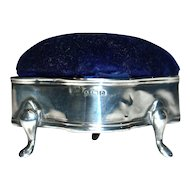 LEVI & SALAMAN 1913 - Edwardian Sterling Silver Ring/Jewelry Box-Velvet Pin/Hatpin Cushion Top