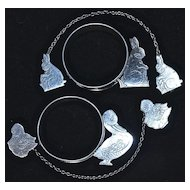 2-Sets: RABBIT & DUCK  Baby's Napkin Ring & Bib Clips - Sterling