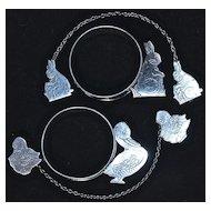 2-Sets: RABBIT & DUCK  Baby's Napkin Ring & Bib Clips - Sterling