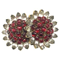 HATTIE CARNEGIE 'Pomegranate' Early Double Flower Rhinestone Brooch/Pin - Signed