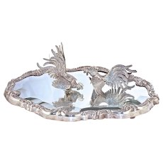 Pr. FIGHTING COCKS on Beveled Mirror - Peruvian - Sterling Silver
