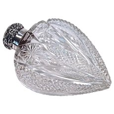 HART Shaped ABP Crystal. & Sterling Lady's Flask/Perfume/Cologne Bottle