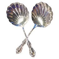 JOAN OF ARC - Nut or Bon Bon Shell Slotted Spoons by International Sterling - Set of 2