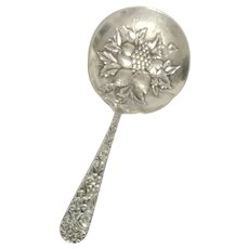 REPOUSSE BON BON Sterling Silver Berry Spoon by S. Kirk & Son - No Mono.
