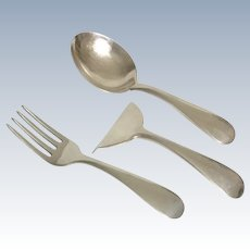 J.E. CALDWELL & CO.  Child's Sterling Flatware - Food Pusher, Fork & Spoon.