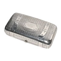 IMPERIAL RUSSIAN  JAL Antique Silver Machine Engraved Belted-Trunk Cigar/Cigarette/Cheroot Case