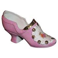 German Porcelain Pink Glazed Pump/Shoe