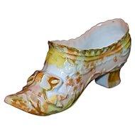 German Miniature Porcelain Bisque Slipper - Shoe - Boot