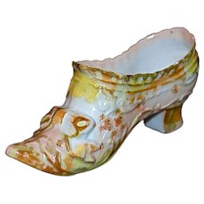 German Miniature Porcelain Bisque Slipper - Shoe - Boot