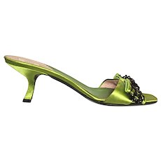 PRADA Italian Mules - Size 37-1/2 (US 7) - Black Beads on Lime Green Silk Satin - 2-1/2 in. Shoe Heel Height