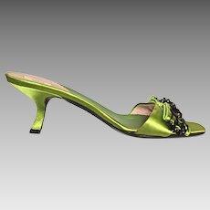 PRADA Italian Mules - Size 37-1/2 (US 7) - Black Beads on Lime Green Silk Satin - 2-1/2 in. Shoe Heel Height