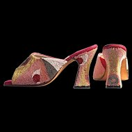 """TERRI MOORE Unique Hand Beaded Mules/Shoes -  US Size 6 with a 3-1/2"""" Heel Height.  Gorgeous!"""