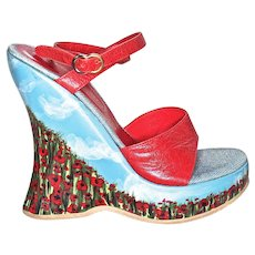 "GIUSEPPE ZANOTTI  ""Poppy Garden and Blue Clouded Sky""  Platform High-Heel Shoes - US Size 7 - Heel Height 5-1/2 inches"