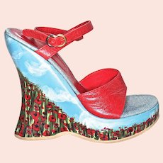 """GIUSEPPE ZANOTTI  """"Poppy Garden and Blue Clouded Sky""""  Platform High-Heel Shoes - US Size 7 - Heel Height 5-1/2 inches"""