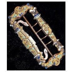French Champleve  Enamel Gilt Buckle - Victorian