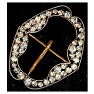 Edwardian Rhinestone Belt Buckle, signed Czechoslovakia
