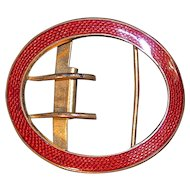 Red Guilloche Enamel Belt Buckle - Gold Gilt Metal