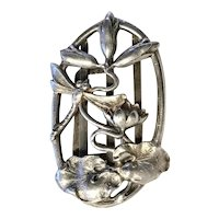 DRAGONFLY-WATERLILY BUCKLE - Art Nouveau Exquisitely Carved Sterling Silver Belt Buckle - Signed
