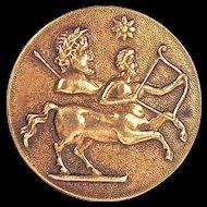 SAGITTARIUS BUTTON - Large Brass Astrology with Brass Shank
