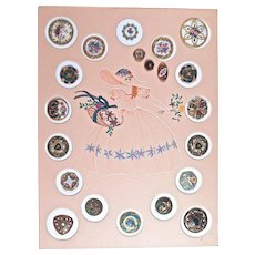 21-FRENCH ENAMEL Buttons on Display Card