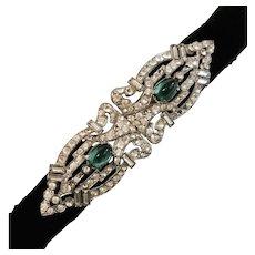 BELT BUCKLE Rhinestones and  2-Cabochon Emerald Green Rhinestones set in Pot Metal - Victorian