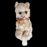 """SCHUCO CAT Sitting 9"""" White Mohair - Glass Eyes - Very Old"""