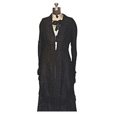 Victorian Silk Mourning Dress - 2-pc. Black Silk Faille & Battenburg Lace