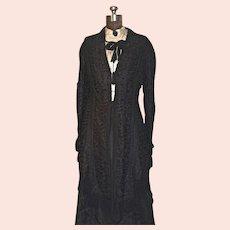 Victorian Silk Mourning Dress - 2-pc. Black Silk Faille & Battenburg Lace