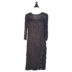 BEADED FLAPPER DRESS - Black Silk Chiffon Heavily Hand Beaded Cocktail Dress