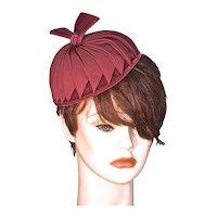 CHAPEAUX original - Deep Red Grosgrain on Silk Velvet Pillbox Hat