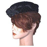 CORALIE - Iridescent Bead Vines on Navy Silk Velvet Pillbox Hat