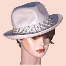YVES SAINT LAURENT Paris -  Fedora - White with Faux Pearls