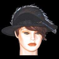MISS SCHIAPARELLI  Paris - Picture Hat in Black Wool Felt