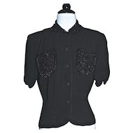 1930s EISENBERG ORIGINAL Beaded Jet Black Crepe Jacket/Blouse